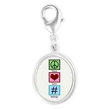 Peace Love Hashtags Silver Oval Charm