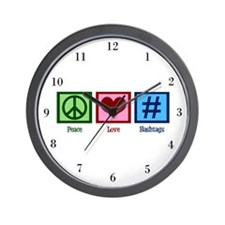 Peace Love Hashtags Wall Clock