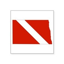 "North Dakota Diver Square Sticker 3"" x 3"""