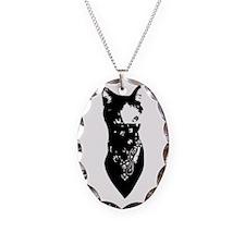 Cat Bandana Necklace Oval Charm