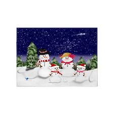 Snowman Family Scene (exlg) 5'x7'Area Rug