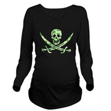 Irish Pirate Shamrock Skull Long Sleeve Maternity