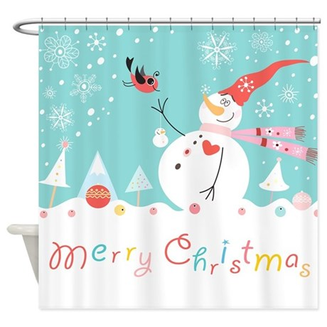 Christmas Snowman Shower Curtain By BestShowerCurtains