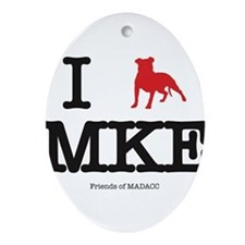 "I ""pit bull"" Milwaukee Ornament (Oval)"