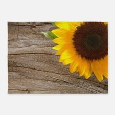 sunflower barnwood western country 5'x7'Area Rug