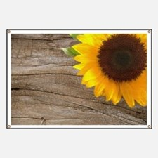 sunflower barnwood western country Banner