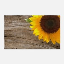 sunflower barnwood western country 3'x5' Area Rug