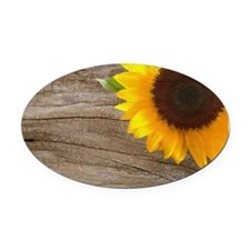 sunflower barnwood western country Oval Car Magnet