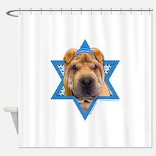 Hanukkah Star of David - Shar Pei Shower Curtain