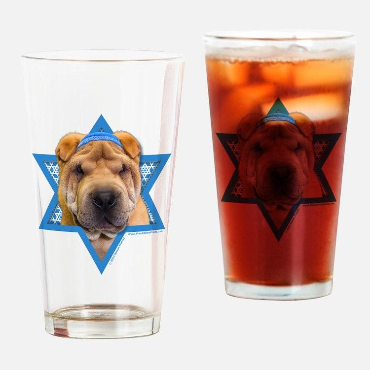 Hanukkah Star of David - Shar Pei Drinking Glass