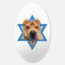 Hanukkah Star of David - Shar Pei Sticker (Oval)