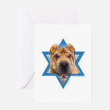 Hanukkah Star of David - Shar Pei Greeting Card