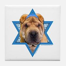 Hanukkah Star of David - Shar Pei Tile Coaster