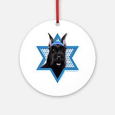 Hanukkah Star of David - Schnauzer Ornament (Round