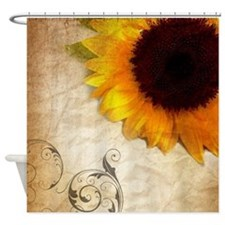 sunflower barnwood western country Shower Curtain