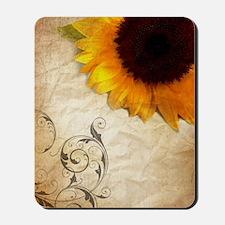 sunflower barnwood western country Mousepad
