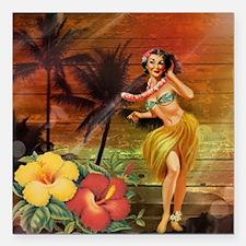 "passion flower hawaii hu Square Car Magnet 3"" x 3"""