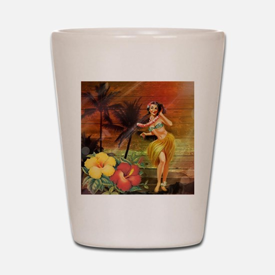 passion flower hawaii hula dancer Shot Glass