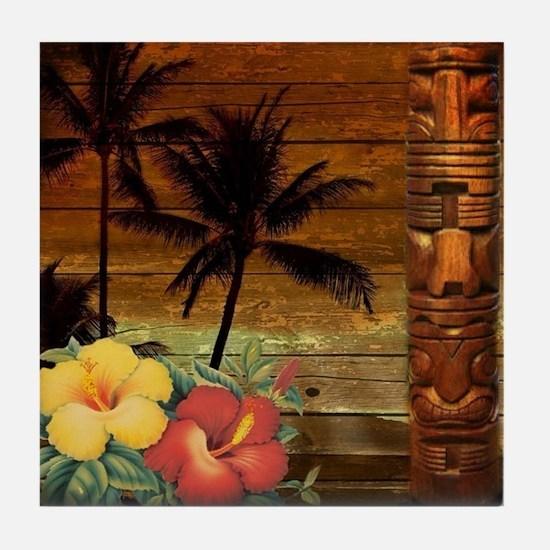 passion flower hawaii totem Tile Coaster