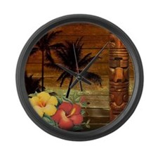 passion flower hawaii totem Large Wall Clock