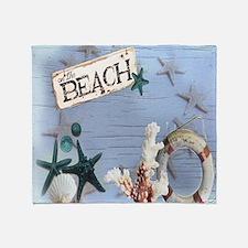 nautical seashells beach fashion Throw Blanket