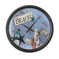 nautical seashells beach fashion Large Wall Clock