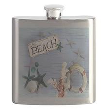 nautical seashells beach fashion Flask