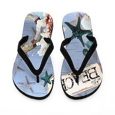 nautical seashells beach fashion Flip Flops