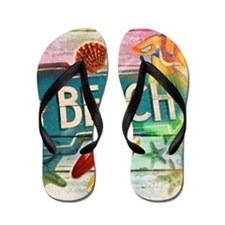 rainbow surfer beach  Flip Flops