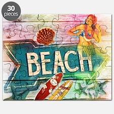 rainbow surfer beach  Puzzle