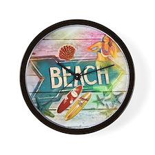 rainbow surfer beach  Wall Clock