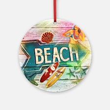 rainbow surfer beach  Round Ornament