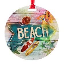 rainbow surfer beach  Ornament