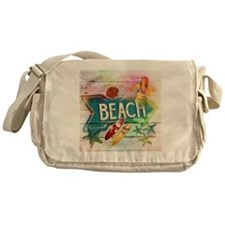 rainbow surfer beach  Messenger Bag