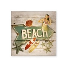 "surfer beach fashion Square Sticker 3"" x 3"""