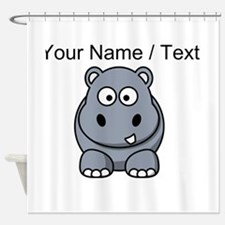 Custom Cartoon Hippo Shower Curtain