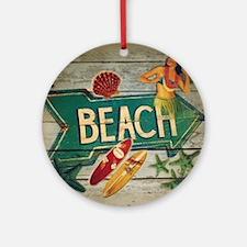 beach sign surfer Round Ornament