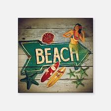 "beach sign surfer Square Sticker 3"" x 3"""
