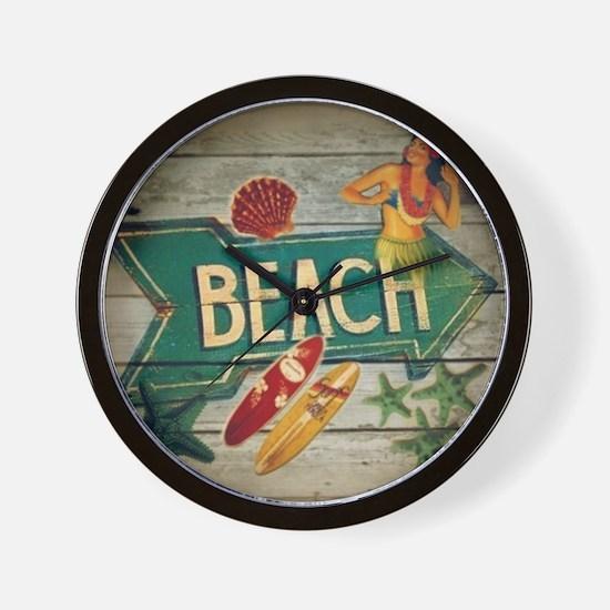 beach sign surfer Wall Clock