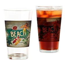 beach sign surfer Drinking Glass
