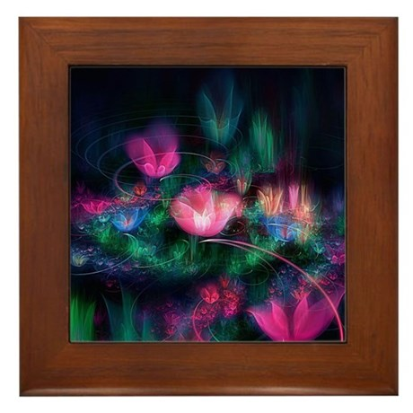 Fairy Flowers Floral Framed Tile