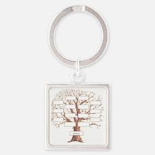 Family Tree Square Keychain