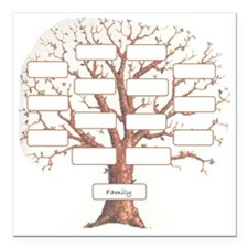 "Family Tree Square Car Magnet 3"" x 3"""