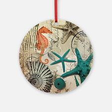 nautical seashells beach decor Round Ornament