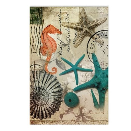 nautical seashells beach Postcards (Package of 8)