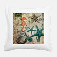 nautical seashells beach deco Square Canvas Pillow