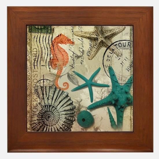 nautical seashells beach decor Framed Tile