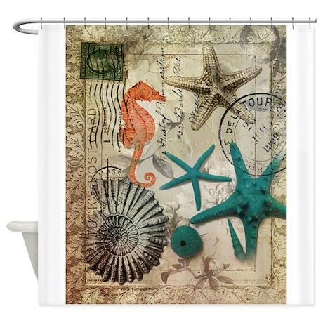 Nautical Seashells Beach Decor Shower Curtain By Listing