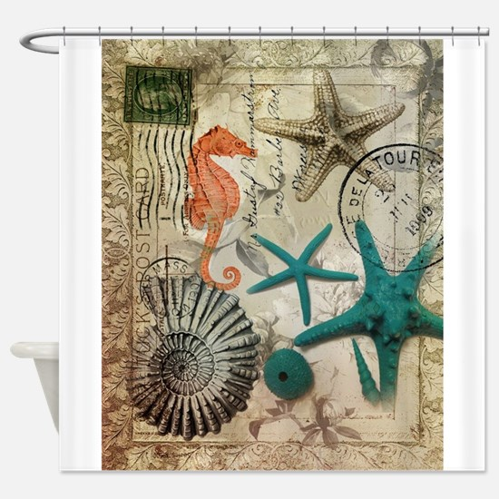 nautical seashells beach decor Shower Curtain