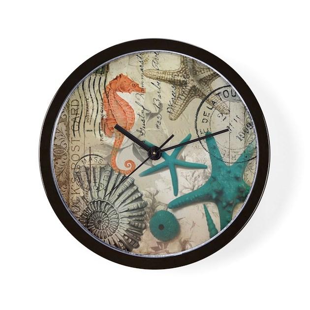 Nautical seashells beach decor wall clock by listing store for Seashell wall clock